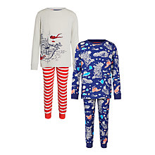 Buy John Lewis Boy Shipwreck Pyjamas, Pack of 2, Navy/Red Online at johnlewis.com