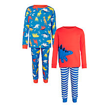 Buy John Lewis Boy Dinosaur Pyjamas, Pack of 2, Blue/Red Online at johnlewis.com