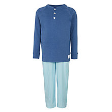 Buy John Lewis Boys' Henley Stripe Pyjamas, Navy Marl Online at johnlewis.com