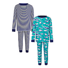 Buy John Lewis Boys' Stripe and Fish Bones Pyjamas, Pack of 2, Turquoise/Blue Online at johnlewis.com