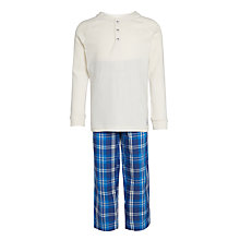 Buy John Lewis Boys' Henley Check Pyjamas, White/Blue Online at johnlewis.com