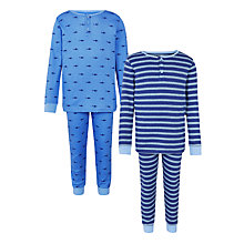 Buy John Lewis Boy Stripe and Shark Pyjamas, Blue Online at johnlewis.com