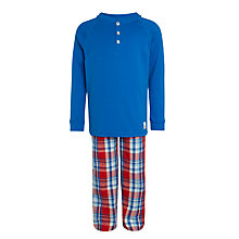 Buy John Lewis Boys' Henley Check Pyjamas, Blue/Red Online at johnlewis.com