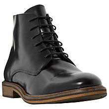 Buy Bertie Calvin Leather Lace Up Boots, Black Online at johnlewis.com