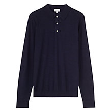 Buy Jigsaw Merino Wool Long Sleeve Polo Top, Navy Melange Online at johnlewis.com