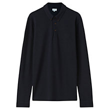 Buy Jigsaw Pique Long Sleeve Polo Shirt, Indigo Online at johnlewis.com