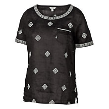 Buy Fat Face Ely Linen Embroidered Shell Top, Phantom Online at johnlewis.com