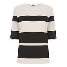 Buy Warehouse Stripe Blocked Jumper, White/Black Online at johnlewis.com