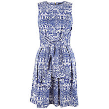 Buy Closet Tile Print Tie Front Dress, Blue Online at johnlewis.com