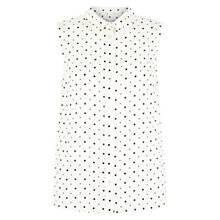 Buy Hobbs Sleeveless Dot Shirt, Ivory Navy Online at johnlewis.com