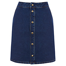Buy Warehouse Popper Front Denim Skirt, Indigo Online at johnlewis.com