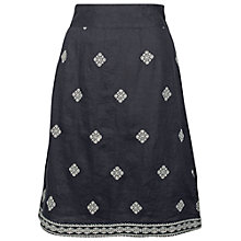 Buy Fat Face Claire Linen Embroidered Skirt, Phantom Online at johnlewis.com
