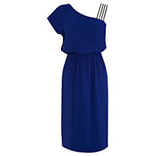 Buy Warehouse Asymmetric Embellished Dress, Blue Online at johnlewis.com