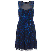 Buy Aidan Mattox Beaded Cocktail Dress, Neptune Blue Online at johnlewis.com