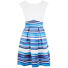 Buy Closet Stripe V-Back Box Pleat Dress, Blue Online at johnlewis.com