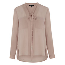 Buy Warehouse Long Line Pocket Blouse, Light Pink Online at johnlewis.com