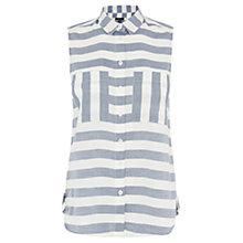 Buy Warehouse Stripe Sleeveless Shirt, White/Grey Online at johnlewis.com