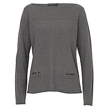 Buy Betty Barclay Slash Neck Knitted Jumper, Dark Grey Melange Online at johnlewis.com