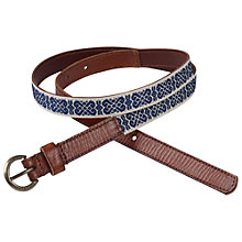 Buy Fat Face Ribbon Leather Belt, Navy Online at johnlewis.com