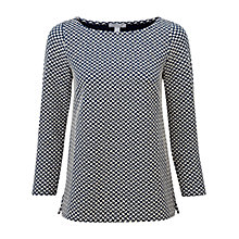 Buy Pure Collection Jersey Jacquard Top, Navy / Ecru Online at johnlewis.com