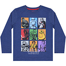 Buy Star Wars Episode 7 Grid Character T-Shirt, Navy Online at johnlewis.com
