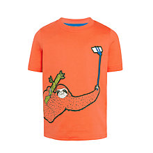 Buy John Lewis Boys' Selfie Stick Sloth T-Shirt, Orange Online at johnlewis.com
