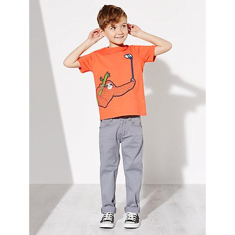 buy john lewis boys 39 selfie stick sloth t shirt orange john lewis. Black Bedroom Furniture Sets. Home Design Ideas