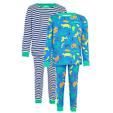 Buy John Lewis Boys' Lizard & Stripe Print Pyjamas, Pack of 2, Blue Online at johnlewis.com