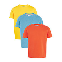 Buy John Lewis Boys' Solid T-Shirt, Pack of 3, Orange/Blue/Yellow Online at johnlewis.com