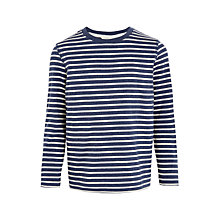 Buy John Lewis Boys' Breton Stripe T-Shirt, Navy/White Online at johnlewis.com