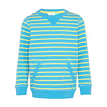 Buy John Lewis Boys' Stripe Crew Neck Sweatshirt, Blue/Yellow Online at johnlewis.com
