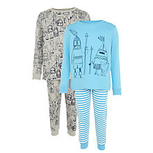 Buy John Lewis Boys' Knights Pyjamas, Pack of 2, Blue/Grey Online at johnlewis.com