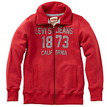 Buy Levi's Boys' Ben Zip Through Sweatshirt, Red Online at johnlewis.com