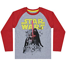 Buy Star Wars Bad Guys Raglan Long Sleeve T-Shirt, Grey/Red Online at johnlewis.com