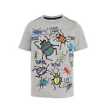 Buy John Lewis Boys' Glow In The Dark Bugs T-Shirt, Grey Online at johnlewis.com