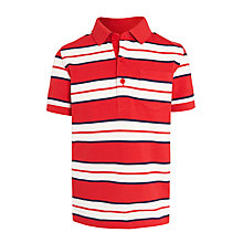Buy John Lewis Boys' Nautical Stripe Polo Shirt, Red Online at johnlewis.com