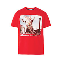 Buy John Lewis Boys' Giraffe London Print T-Shirt, Red Online at johnlewis.com