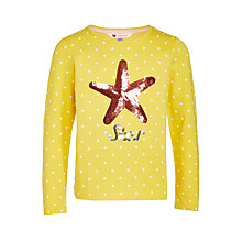 Buy John Lewis Girls' Sequin Star Spot T-Shirt, Yellow Online at johnlewis.com