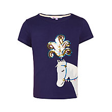 Buy John Lewis Girls' Sequin Horse T-Shirt, Blue Online at johnlewis.com