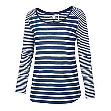 Buy Fat Face Long Sleeve Skinny Stripe Linen Top, Indigo Online at johnlewis.com