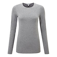 Buy Pure Collection Cambridge Crew Neck Jersey Top, Grey Marl Online at johnlewis.com