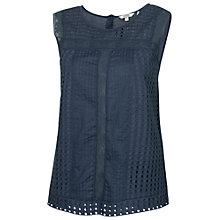 Buy Fat Face Broderie Anglaise Shell Top, Indigo Online at johnlewis.com