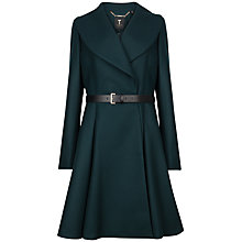 Buy Ted Baker Laureol Flared Wool Blend Coat, Dark Green Online at johnlewis.com