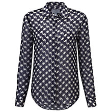 Buy Pure Collection Dashwood Houndstooth Silk Blouse, Navy/White Online at johnlewis.com