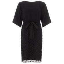 Buy Adrianna Papell Soft Blouson Dress With Lace Skirt, Black Online at johnlewis.com