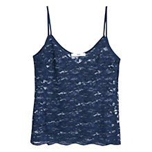 Buy Mango Floral Blond Lace Top, Navy Online at johnlewis.com