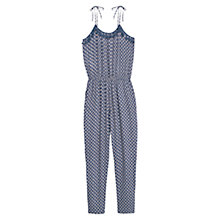 Buy Mango Floral Print Jumpsuit, Medium Blue Online at johnlewis.com