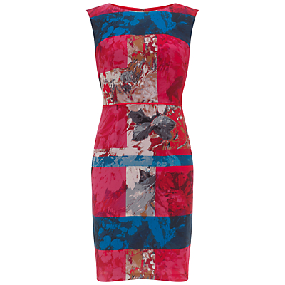 Adrianna Papell Floral Stripe Shift Dress, Red/Multi