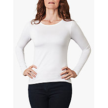 Buy Pure Collection Soft Jersey Crew Neck Top, White Online at johnlewis.com