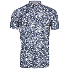 Buy Ted Baker Gladman Brushed Floral Print Short Sleeve Shirt, Navy Online at johnlewis.com
